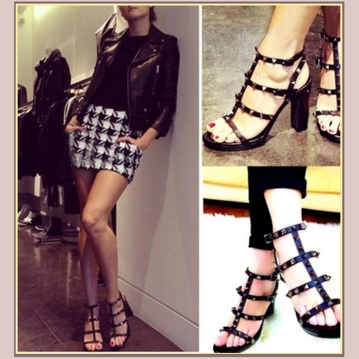 "Strappy Patent Leather and Spike Rivets Gladiator 3"" Platform High Heel Sandals"