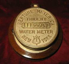 Vintage Neptune Meter Trident New York Water Meter Plaque Brass - $75.75