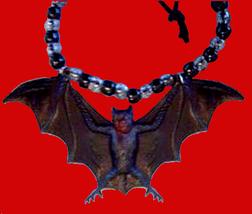 BAT AMULET PENDANT NECKLACE-Funky Vampire Gothic Jewelry-GIANT - $6.97