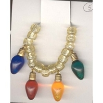 Christmas LIGHT BULBS NECKLACE-Holiday Charm Jewelry 4-Color-1-inch - $6.97