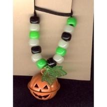 JACK-O-LANTERN BELL NECKLACE-Halloween Pumpkin Funky Jewelry-RND - $4.97