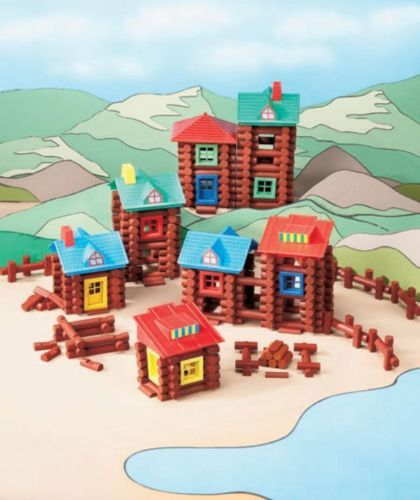 400 piece wood log building set gift cabins forts frontier christmas toys kids