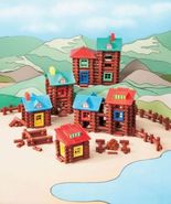 400 Piece Wood Log Building Set Gift Cabins Forts Frontier Christmas Toy... - $39.25