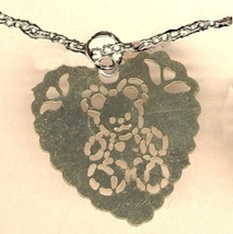 HEART TEDDY BEAR PENDANT NECKLACE-Vintage Filigree Charm Jewelry - $4.97