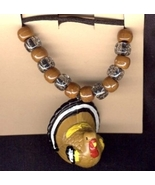 TURKEY PENDANT NECKLACE-Funky Holiday Thanksgiving Jewelry-HUGE - $4.97