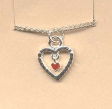 HEART PENDANT NECKLACE - Valentine's Day Charm Love Jewelry -I - $4.97