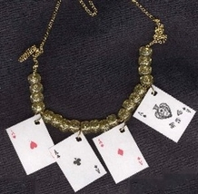 4-ACES PLAYING CARDS NECKLACE-Casino Poker Lucky Charm Novelty Costume J... - $6.97