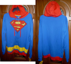 $50 Superman Mens Zip Hoodie Sweatshirt Jacket DC Comics Royal Blue Red NEW M-2X - $39.97
