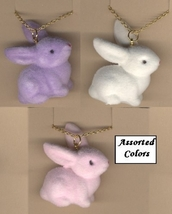 BUNNY FUZZY PENDANT NECKLACE-Easter Rabbit Funky Jewelry-LG-1-Pc - $4.97