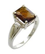 .925 Sterling Silver CZ Smoky Topaz Ring Size Choice - $37.50