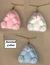 BUNNY FUZZY PENDANT NECKLACE-Easter Rabbit Funky Jewelry-SM-1-Pc - $4.97