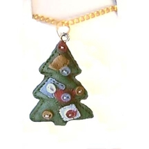 Christmas TREE PENDANT NECKLACE-Country Patchwork Quilt Jewelry - $4.97