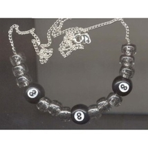 8-BALL NECKLACE-Retro Pool Billiards Game Lucky Funky Jewelry - $6.97