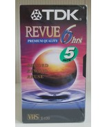 Lot of 5 TDK Revue Premium Quality 6 Hours T-120 VHS Tapes New and sealed  - $30.69