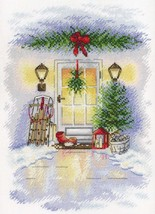Cross Stitch Embroidery Kit Christmas Door - $30.12