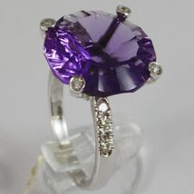 White Gold Ring 750 18K, with Amethyst round CT 11.5, and Diamonds CT 0.21 image 3
