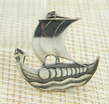 Carl Ove Frydensberg COF Sterling Silver Viking Ship Pin Brooch Vintage - $98.99