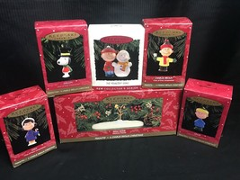 Hallmark Set Of 5 Peanuts CHRISTMAS Ornaments Snow Scene Charlie Brown +... - $29.69