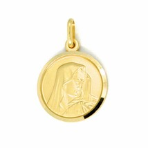 SOLID 18K YELLOW GOLD OUR LADY OF SORROWS, 13 MM, ROUND MEDAL, MATER DOLOROSA image 1