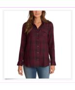 Jessica Simpson Petunia Button-Up Shirt Wine/Black Plaid, Small - $12.86