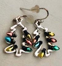 Vintage Silver Tone Multicolour Christmas Tree Dangle Earrings - $13.00