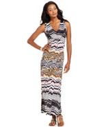 NY Collection Women's Hardware Front Printed Maxi Black Multi Dress Medium - $26.32