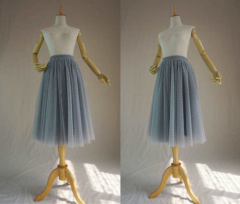 Gray tulle skirt midi 7