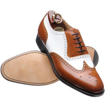Handmade leather shoes for men Two tone leather shoes custom made shoes - $159.99