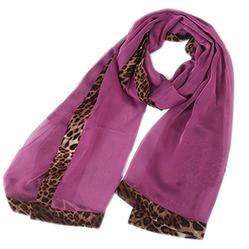 Fashion Nice Woman and Girl Leopard Solid Infinity Chiffon Scarf Shawl Purple