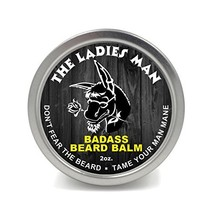 Badass Beard Care Beard Balm - The Ladies Man Scent, 2 Ounce - All Natural Ingre