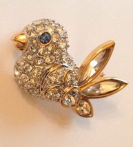 Swarovski Crystal Swan Stamped Bird Pin Brooch Rare Retired Vintage Coll... - $98.99