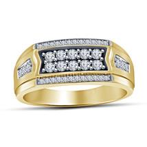 14k Yellow Gold Finish 925 Sterling Silver Mens Wedding Anniversary Diam... - £71.37 GBP