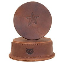 Durable Thick Leather Moon, Star and Heart Coasters 6-Pack Handmade by H... - $41.85