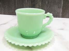 Vintage Jadeite Candlewick Cup and Saucer Beaded  - $44.55
