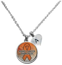 Custom Kidney Cancer Awareness Sparkle Silver Necklace Jewelry Choose Initial - $15.80