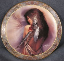 White Feather Collector Plate Native Beauty Lee Bogle Bradford Indian Wo... - $17.95
