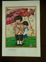 Vintage Mary Engelbreit Print Asian Girls Dragon Umbrella  - $19.80