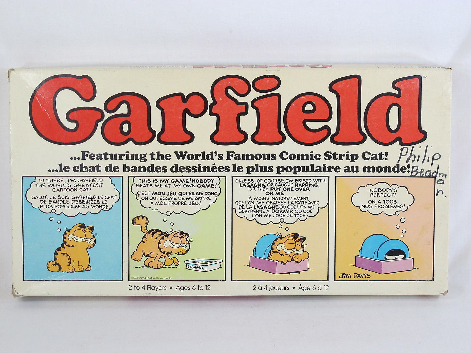 Garfield 1981 Board Game Parker Brothers 100% Complete Excellent Bilingual