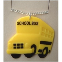SCHOOL BUS PENDANT NECKLACE-Funky Driver Charm Teacher Jewelry - $3.97