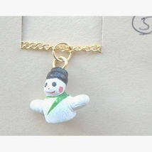 SNOWMAN PENDANT NOVELTY NECKLACE-Tiny Winter Charm Funky Jewelry - $3.97