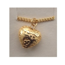 HEART PENDANT NECKLACE-Valentine Jewelry-Puffy Vintage Gold Bead - $4.97