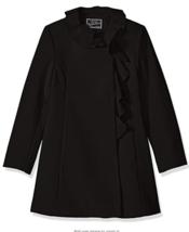 Rothschild Girl's Big Faux Wool Coat With Ruffle Trim Black - $39.99