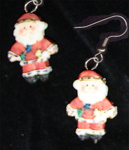 SANTA CLAUS EARRINGS-2-Sided Christmas Holiday Costume Jewelry - $8.97