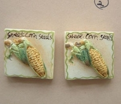 CORN SEEDS PACKAGE EARRINGS-Garden Vegetable Charm Funky Jewelry - $4.97