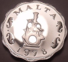 Rare Cameo Proof Malta 1978 5 Mils~Earthen lampstand~Only 3,244 Minted~Free Ship - $12.78