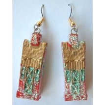 HOUSE GLITTER EARRINGS-Realtor Country Home Holiday Jewelry-A - $4.97