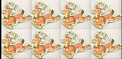 REINDEER RUDOLPH ORNAMENTS-Vintage Paper Embellishments-8-Pc LOT