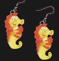 SEAHORSE EARRINGS-HAPPY Scuba Ocean Aquarium Charm Funky Jewelry - $4.97
