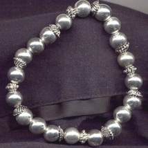 BEAD STRETCH CHARM BFF BRACELET-As is or Add your Charms-SILVER - $1.97