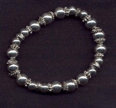 BEAD STRETCH CHARM BFF BRACELET-As is or Add Charms-SILVER-FANCY - $2.47